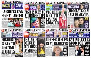 Recull de portades del Daily Express suggerint els avantatges de diversos aliments