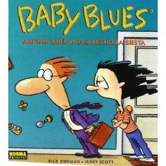 Portada de l'àlbum Adivina quien no ha hecho la siesta, de la sèrie Baby Blues, mostrant dos pares desesperats