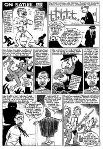 Pàgina de còmic de Joe Sacco on reflexiona sobre la sàtira, la violència i l'atemptat a Charlie Hebdo