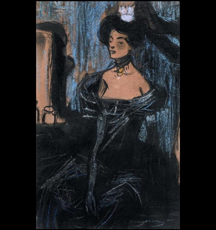 Tocador. Pintura de Carles Casagemas en que retrata una noia amb un vestit de nit negre asseguda a una cadira al davant del seu tocador.
