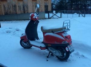 Vespa vermella amb una capa de neu a sobre