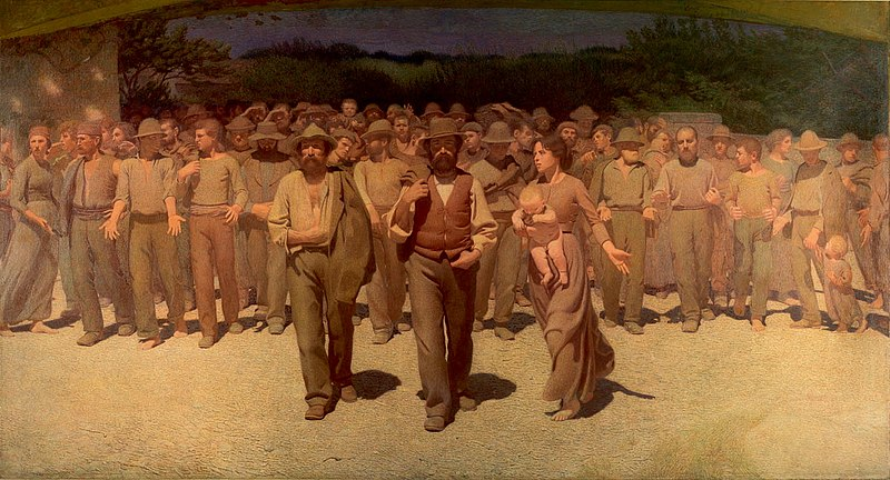 Obrers de començament del segle XX manifestant-se