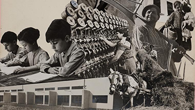 Collage d'imatges en blanc i negre d'escenes de l'activitat anarquista: col·lectivitzacions, escoles, etc..