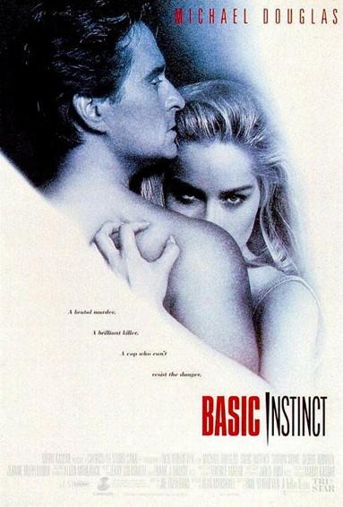 Póster del film Basic Instinct, amb Michael Douglas i Sharon Stone.