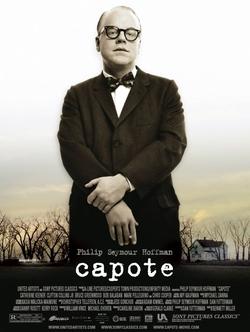 Póster del film Capote, amb Philip Seymour Hoffman en primer pla.