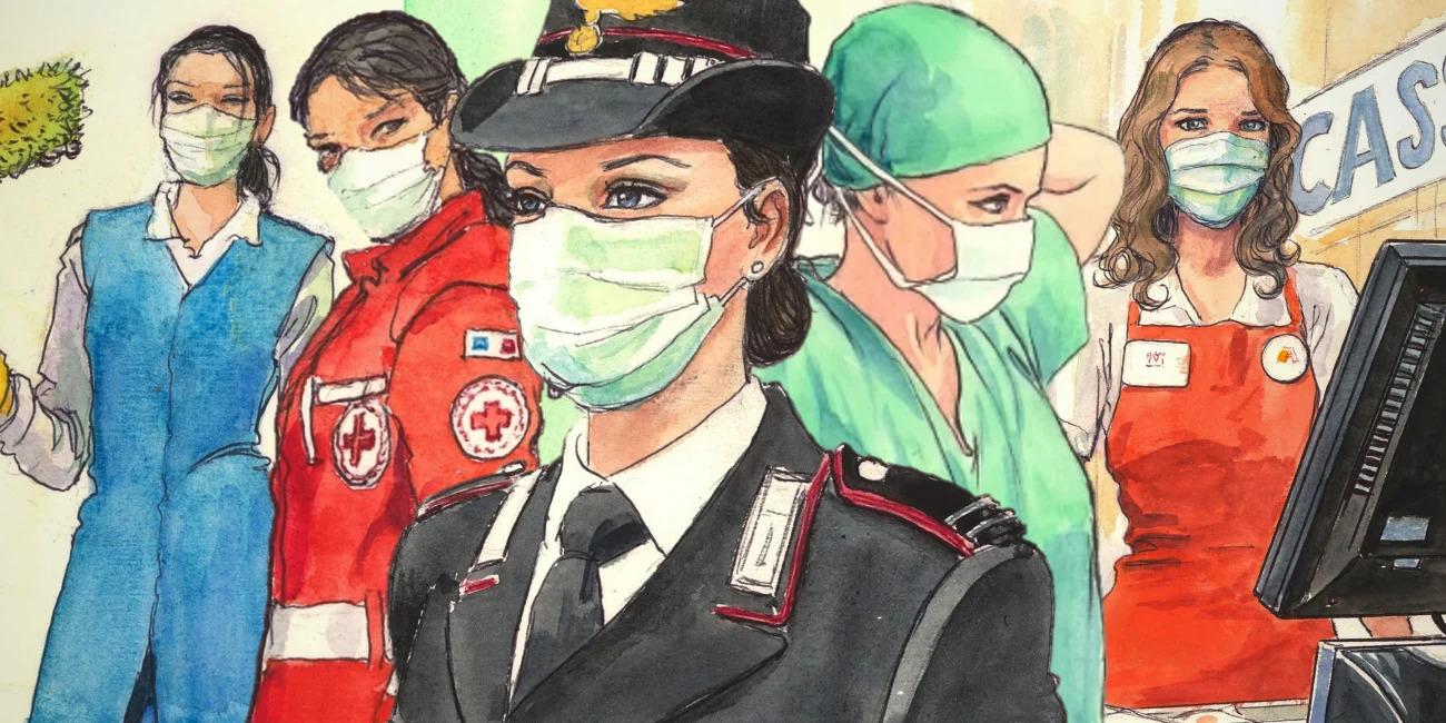 Una dona de la neteja, una noia d'una ambulància, una policia, una metgessa i una caixera de supermercat, totes amb mascareta, dibuixades per Milo Manara.