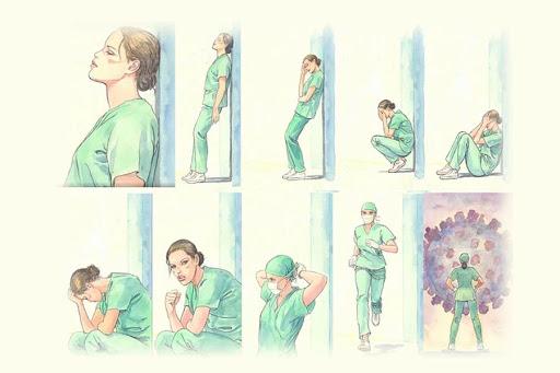 Seqüència de dibuixos de Milo Manara on es veu una metgessa o infermera esgotada mentalment i física que es refà per a seguir lluitant contra la pandèmia del coronavirus.