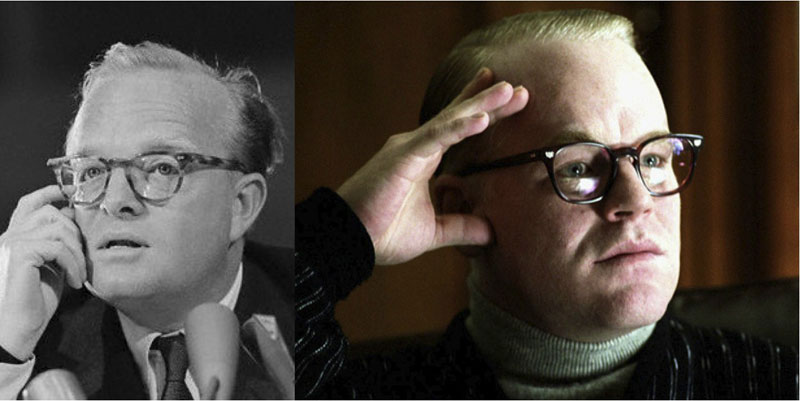 Retrat en blanc i negre de Truman Capote i en color de Philip Seymour Hoffman.